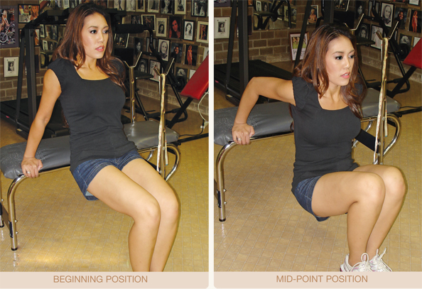 "Jade Monfills, ""Miss Texas International 2009"" demonstrates the correct technique for performing the exercise ""Tricep Dips."""