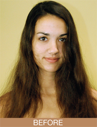 Model Natalie Martinez before her makeover.