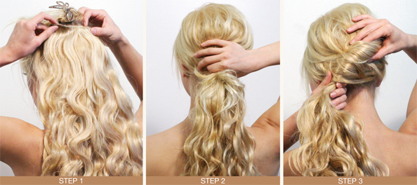 Winter Hairstyles Ponytail: Steps 1 - 3