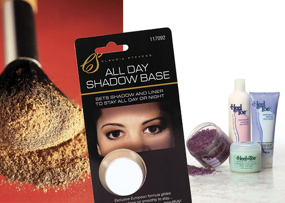 OVER-THE-COUNTER THERAPEUTICS: An easy way to achieve a sun-free tan is to use a powder bronzer applied with a blush brush (above left). As its name claims, the All Day Shadow Base (above center) works throughout the day to keep your eye shadow and liner looking fresh. The bottom line on intensive foot care is this pedicure system (above right) that includes a pair of overnight socks to lock in the effectiveness of moisture-intensive cream.