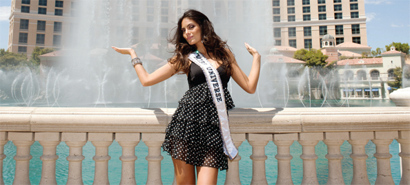 Miss Universe Ximena Navarrete outside of the Atlantis Resort on Paradise Island in the Bahamas
