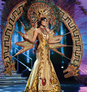 Ximena Navarrete, Miss Mexico 2010, in full display dressed in her national costume.