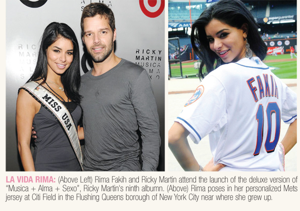Miss USA Rima Fakih with Ricky Martin and in personalized Mets jersey