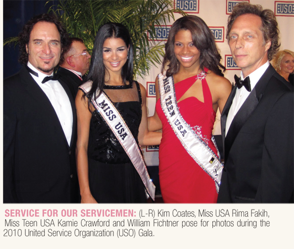 Miss USA Rima Fakih with actor Kim Coates, Miss Teen USA Kamie Crawford, and actor William Fichtner