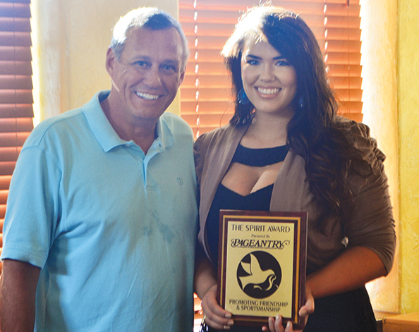 Pageantry CEO Carl Dunn  presents the Pageantry Spirit Award to makeup artist Sommer Isdale