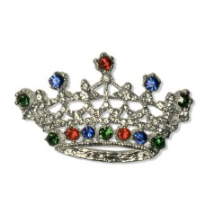 Multi Color Jeweled Crown Brooch